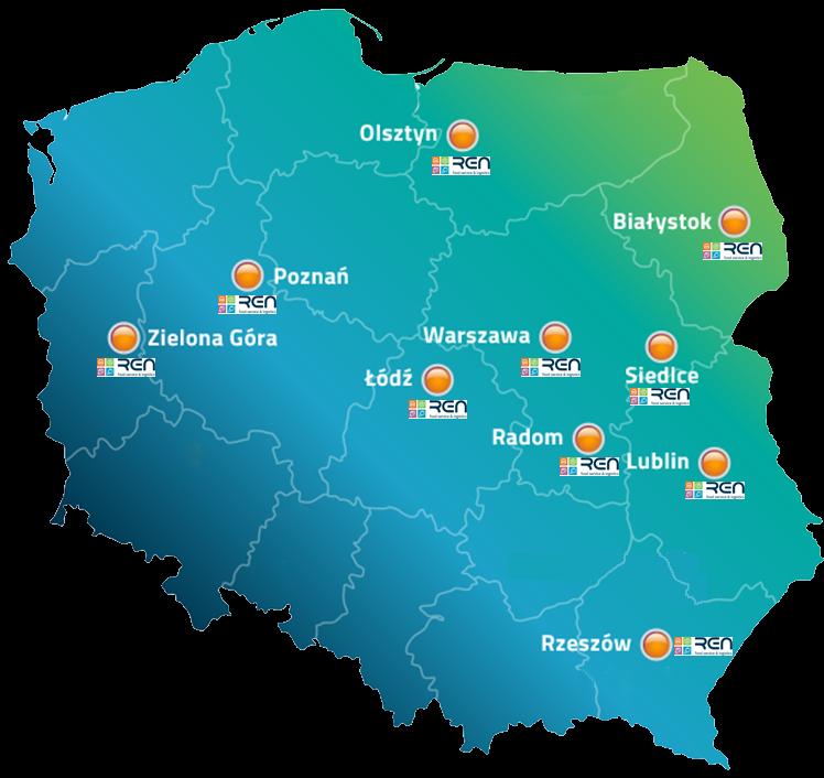 Mapa Polski z Zaznaczonymi Punktami Kontaktowymi